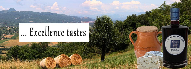 Cheese conciato romano and wine passito Sasso di Riccardo