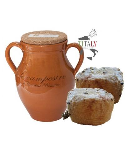 CONCIATO ROMANO GOAT CHEESE IN CLAY JARS WITH LIQUID SEASONING