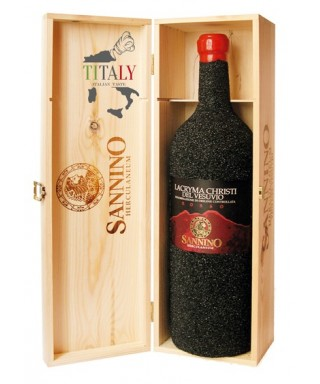 LACRYMA CHRISTI WHITE WINE FROM VESUVIUS DOC IN LAVA STONE IN WOOD BOX - VINICOLA SANNINO