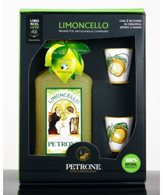 "GIFT BOX WITH PETRONE LEMON LIQUEUR ""LIMONCELLO"" 70cl AND TWO CERAMIC CUPS FROM VIETRI"
