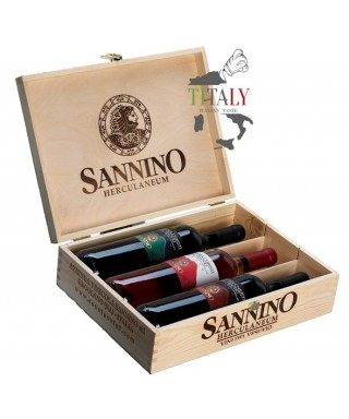 WOOD BOX WITH 3/6 WINE BOTTLES LACRYMA CHRISTI FROM VESUVIUS DOC 75cl - VINICOLA SANNINO
